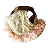 MagiDeal Verstellbarer Rund Hut Kappen Mütze für Sunbonnet Haustier-Hut Hunde Welpen - Pinke Blumen, L