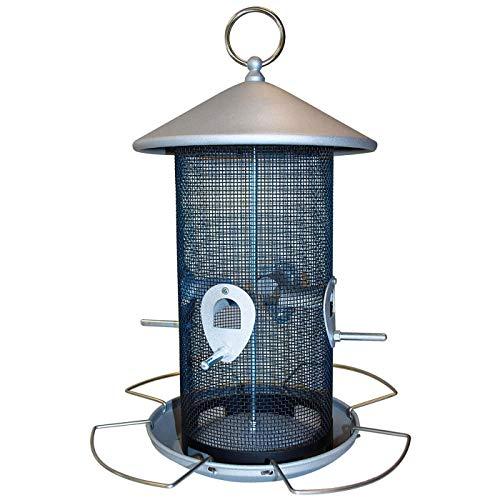 PROHEIM Vogelfutter-Station 30 cm aus Metall Futterspender für bis zu 3 kg Futter Vogelhaus zum Hängen Vogelfutter-Spender mit 8 Futteröffnungen - perfekt für Wildvogelmischungen