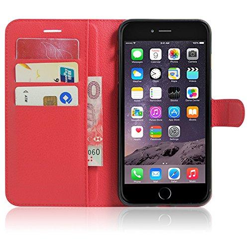 Sleeve für Apple iPhone 8 4.7 Zoll aufstellbare Flipcase Tasche in Leder-Optik extra dünn mit Kartenfächern Rot