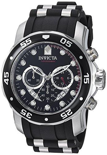 Schwarz Uhren Herren Invicta (Invicta Herrenuhr Chronograph Quarz mit Kautschukarmband – 6977)