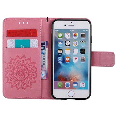iPhone 6S Étui en cuir, iPhone 6 Étui portefeuille, Lifetrut [Tournesol gaufré] Portefeuille en cuir Flip Folio Design Flip Coque Couverture pour iPhone 6S 6 [Gris] E205-Rose