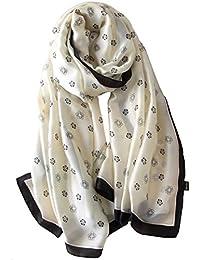 Glitterbugs Womens 100% Mulberry Silk Scarf Long Satin Scarf Fashion Designer Scarf Lightweight Gift,01