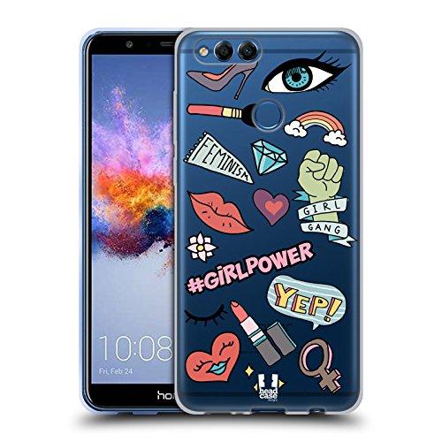 Head Case Designs Mädchen Gedruckte Knopf-Pin Soft Gel Hülle für Huawei Honor 7X (Mädchen Knöpfe Und Zieht)