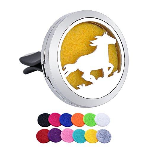 Tornado Aromatherapie Auto-Lufterfrischer Laufendes Pferd, Edelstahl, Diffusor, Medaillon, 12 Nachfüllpads, Edelstahl, Running Horse Style2, 30 mm