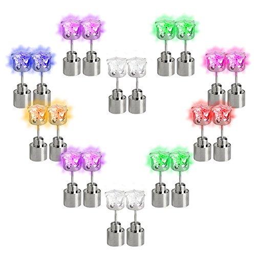 Esonstyle 10 Paare Edelstahl LED Ohrring LED Ohrstecker für Halloween ,Weihnachten, Party, Club, Disko , Geeignet -