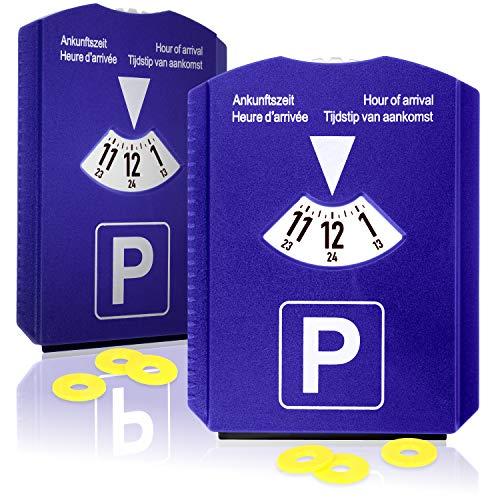 com-four® Disco di parcheggio 2X con Raschietto per Ghiaccio, Labbro in Gomma e Chip per Carrello della Spesa - parchimetro in plastica (02 Pezzi - Disco di parcheggio con Chip)