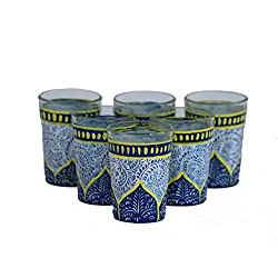 eCraftIndia Set of 6 Handpainted Decorative Glass Set - 106 MultiColor