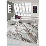 Alfombra diseñador Alfombra moderna alfombra alfombra de lana salón alfombra de lana con estampado de flores crema de color rosa de color topo de Brown Größe 80x150 cm