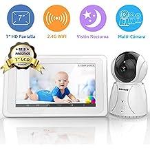 """BIGASUO Vigilabebés Inalámbrico Baby Monitor LCD 7"""" Pantalla con Cámara Visión Nocturna, 2.4GHz, Comunicación Bidireccional, Canciones de Cuna"""