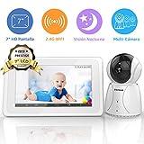 BIGASUO Vigilabebés Inalámbrico Baby Monitor LCD 7' Pantalla con Cámara Visión Nocturna, 2.4GHz,...
