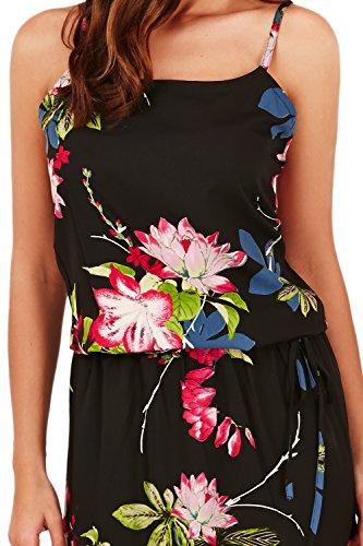 Damen Pistachio designer Blumenmuster Sommer Maxi Damen lang Riemchen Abendkleid Schwarz