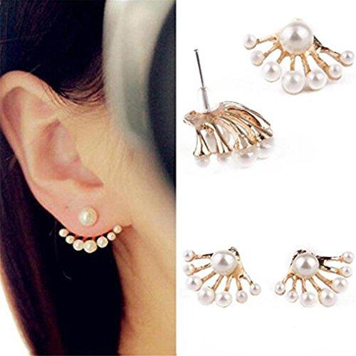 Ohrstecker Damen,DOLDOA Ohrringe Ohrhänger Ohrhänger Faux Pearl Ohrstecker vorne und hinten (Gold)