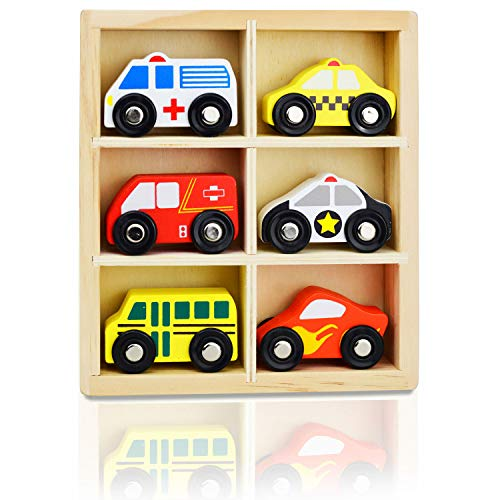 NimNik Wooden Toys Cars Postman Van School Bus Police Vehicles Great Christmas Birthday Gifts For Girls Age 5 6 7 8 9 10 years old