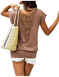 Msmusty Damen Strandshirt Lockeres Sommer Oberteil T-Shirt Tunika mit  Spitze aus 100% Baumwolle 93f95e9be0