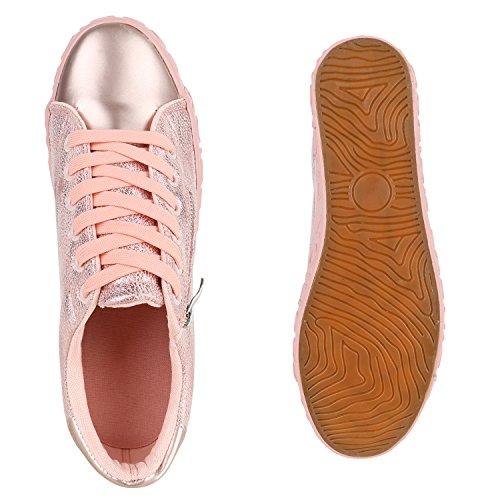 Damen Sneakers Metallic Sneaker Low Zipper Glitzer Schuhe Lack Animal Print Turnschuhe Sportschuhe Leder-Optik Plateau Flats Flandell Rosa Rosa