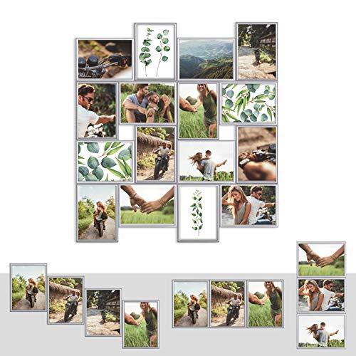 Kunststoff Bilderrahmen Fotorahmen Collage zum individuellen gestalten 16x 13x18cm Silber mit Normalglas und Klammern