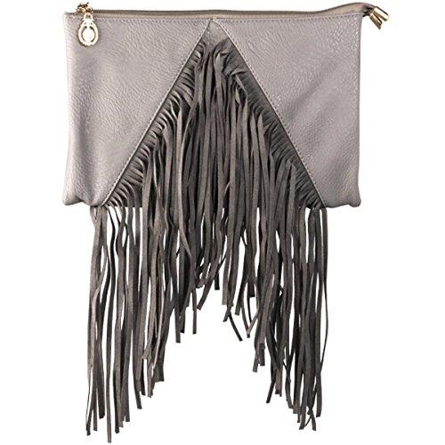 xardi Londres New M Étui à rabat en simili cuir Mesdames Pochette Femmes Soirée Sac en Daim Frange UK gris