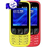 I KALL K6303 Dual Sim 2.4 Inch Display COMBO OF TWO Basic Mobile Feature Phone With 1800 Mah Battery Capacity, Bluetooth, GPRS, Flash Light, FM- Yellow & Red