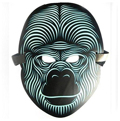 Gesichtsschutz Domino falsche Front LED-Stimm-aktivierte Glimm-Maske Halloween EL Fluoreszierende Party Maske Make-up Tanz 1 ()