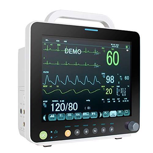 Tragbares 12-Zoll LCD ECG Monitor Vitalzeichen Patientenmonitor ECG/EKG Gerät mit mehreren Parametern NIBP RESP TEMP SPO2 PR