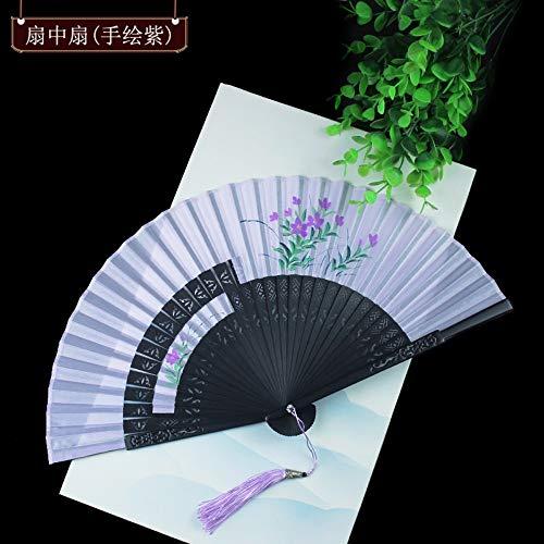 Folding Fan Seide Natur Bambus Chinesische Klassische Hand - Handwerk Ventilator Dekoration Dance Party Frau Sommer Kühl Täglichen Ventilator Lila Lackiert