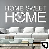 DESIGNSCAPE® Wandtattoo Uhr Home Sweet Home   Wanduhr Home 200 x 82 cm (B x H) schwarz inkl. Uhrwerk schwarz, Umlauf 90cm DW813093-L-F4-BK