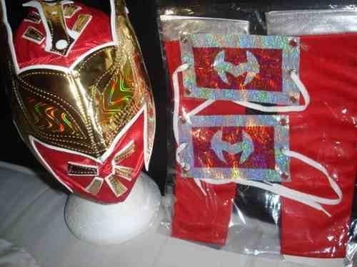 SOPHZZZZ TOPY SHOP Sin Cara Rot Kostüm Outfit Gear Anzug Kind Universal Neu WWE Wrestling