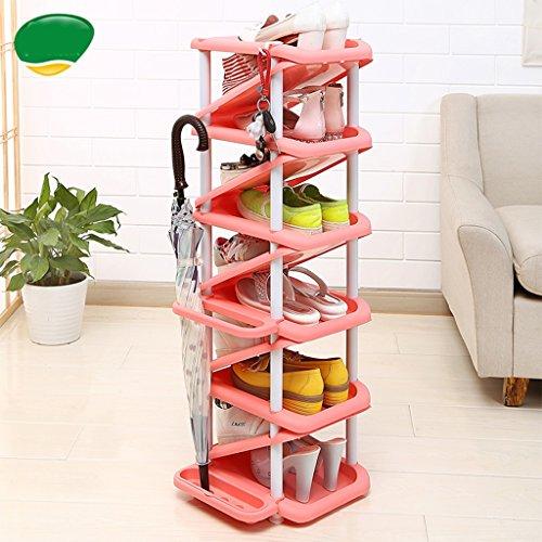 Schuhregal Mehrschichtiger Haushalts-Raumersparnis-Multifunktionsplastikschuh-Turm 11 Paar Schuhe und 4 Regenschirm-Einheit Entryway (Farbe : Color 2)