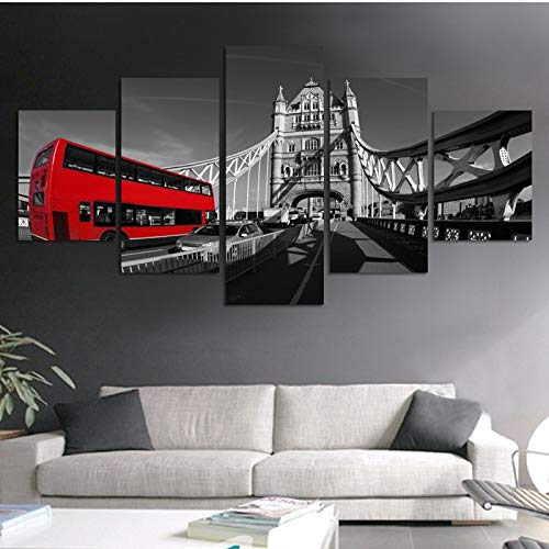 alicefen Moderne Leinwand Malerei Poster Wandkunst London Red Bus Landschaft Für Wohnzimmer Wohnkultur Kunstwerk Bild Wohnkultur Wohnzimmer Leinwanddrucke-Frame - Impressionen Leinwand Kunst