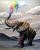 WEIMEING DIY Ölfarbe by Number Kit, Malerei Paintworks Gemalt Elefanten Wandkunst Bild Zeichnung Mit Pinsel 40X50 cm Rahmenlose Weihnachtsdekor Dekorationen Geschenke