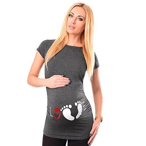 Lonshell Mutterschaft Sommer Umstandstmode T-Shirt, Damen Kurzarm Umstandstop l Love  Drucken Atmungsaktiv Tee Blusa Umstandsshirt Tops Schwangere Frauen Basic Kleidung (Grau, S) (Shirt Weißes Baby Schwangerschafts)