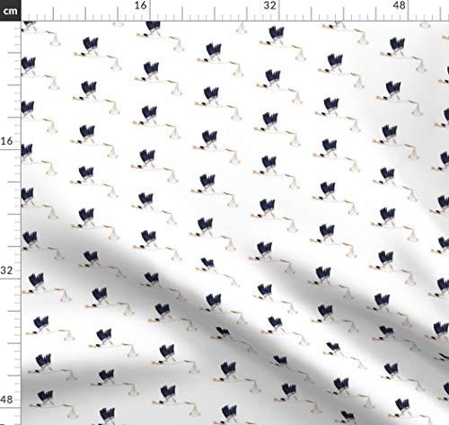 Storch, Kinderzimmer, Babyparty, Kinder, Säugling, Weiß Stoffe - Individuell Bedruckt von Spoonflower - Design von Thistleandfox Gedruckt auf Leichter Baumwoll Twill -