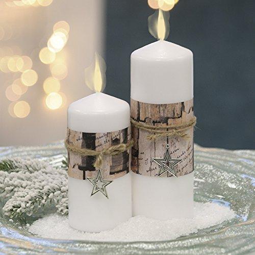 Stumpenkerze Nordic Wachs weiß Papierbanderole u. Metallstern Höhe 14 cm, Weihnachten, Deko, Candle -