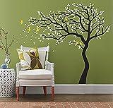 ufengke® Groß Baum Fliegend Vögel Wandsticker, Wohnzimmer Schlafzimmer Entfernbare Wandtattoos Wandbilder Schwarz Und Weiß