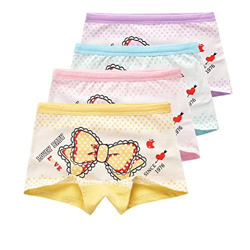 USex Sense 12 Pack Little Girls Cotton Boyshorts Lovely Boxers Underwear Size 2-12 years (XL 9-12years, Custom 1711)
