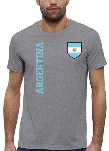 Argentinien Fußball WM Fanshirt Gruppen Premium Bio Baumwoll Herren Männer T-Shirt Stanley Stella Fan Trikot Argentina, Größe: XL,Heather Grey