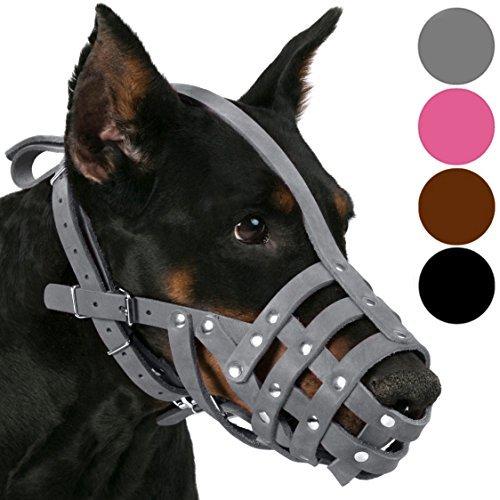CollarDirect Leder Maulkorb für Hunde Deutscher Schäferhund Dalmatiner Rottweiler, Setter Korb Medium Große Rassen Pink Grau, L, Grau