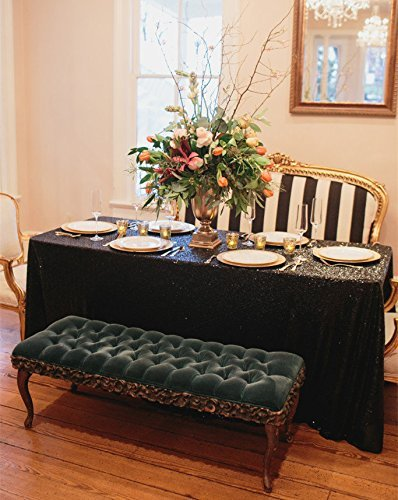 5 Stk 90 x 132 cm Glitter Champagner Stickerei Pailletten Tischdecken rechteckige Tischdecken für Hochzeiten Party DecorationBlack (Großhandel Tischdecken Für Hochzeiten)