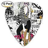 Model Posing And Sitting On Tabouret With Clothes Street Style Print Guitar Picks...