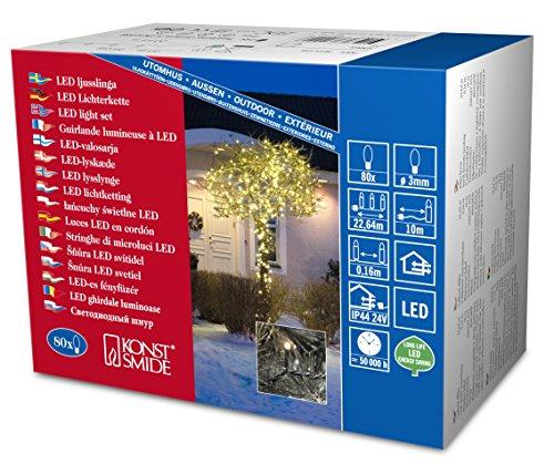 Konstsmide 3611-110 Micro LED Lichterkette / für Außen (IP44) /  24V Außentrafo / 80 warm weiße Dioden / sschwarzes Kabel