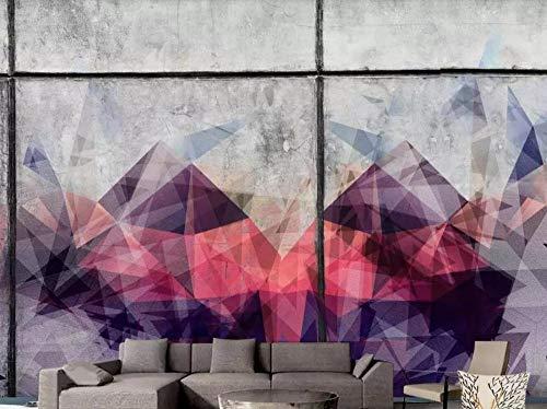 Fotomurali 3D Muro Di Cemento Triangolo Geometrico Rosso Bianco E Nero Carta Da Parati 3D Effetto Quadri Murali Gigante Murale Decorazione,350cmX256cm