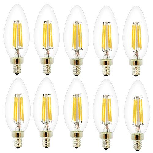 10 Pack Dimmbar E14 C35 4W Glühfaden LED Kerze Lampe,2700K Warm Licht 280 Lumen, Ersatz für 30W Glühlampen, E14 Fassung,360° Abstrahlwinkel,AC220V (Belebende Kerze)