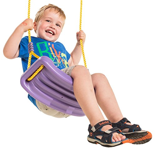 KBT Schaukelsitz Lila mit gelben Seilen - Schaukel aus HDPE für Kinder und Erwachsene bis 70 kg. Klassische Brettschaukel für Spieltürme, Stelzenhäuser oder Schaukeln.