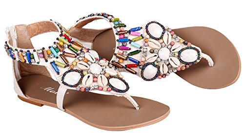 EOZY-Donna Boemia Sandali Vintage Perline Strass Flip Flop Infradito Piatti Bianco