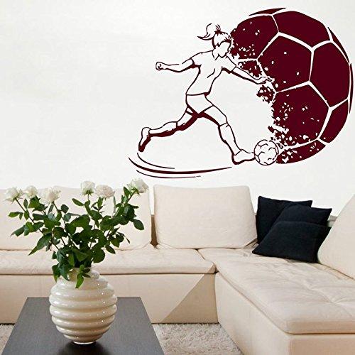 Fußball Frauen Aufkleber Sport Fußball Aufkleber Helme Mädchen Kinderzimmer Name Poster Vinyl Wandtattoos Fußball Aufkleber 58x77CM