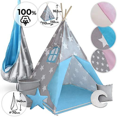 Tipi Spielzelt und Hängesessel für Kinder   mit oder ohne Zubehör, Designauswahl   Kinderzelt, Indianertipi, Teepee Zelt, Hängehöhle (Mit 3X Kissen und 1x Korb, Grau-Blaumitweißen Sternen) -