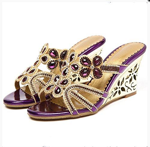 XY&GKDiamond d'été avec des chaussons d'été pour femmes Sandales High-Heeled creux pente cristal de diamant sandales, confortables et belle 35purple