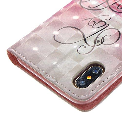 iPhone X Hülle, Asnlove Premium Leder Schutzhülle PU Leder Flip Tasche Case 3D Muster Serie Book Style mit Integrierten Kartensteckplätzen und Ständer für Apple iPhone 10 / iPhone X 5.8 Zoll 2017 - Kü Weiße Wolken