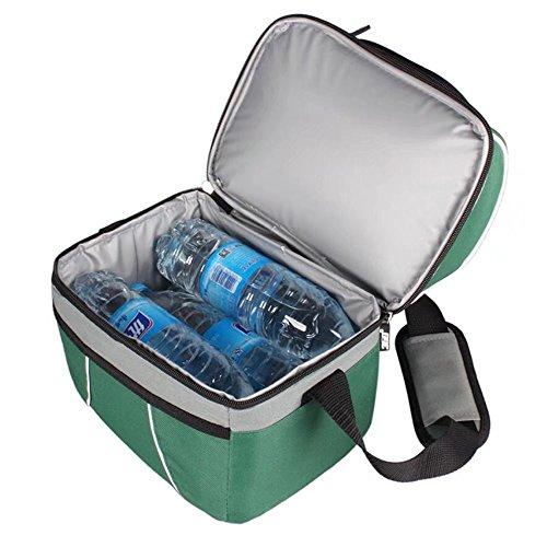 10L 2-tier Tote lunch bag borsa termica porta pranzo borsa con cerniera Tracolla per ufficio scuola picnic all' aperto grande capacità Blue Green