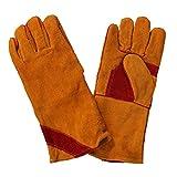 QQ HAO Leder-Schweißer Verschleißfeste haltbare wärmeisolierende Schutzhandschuhe